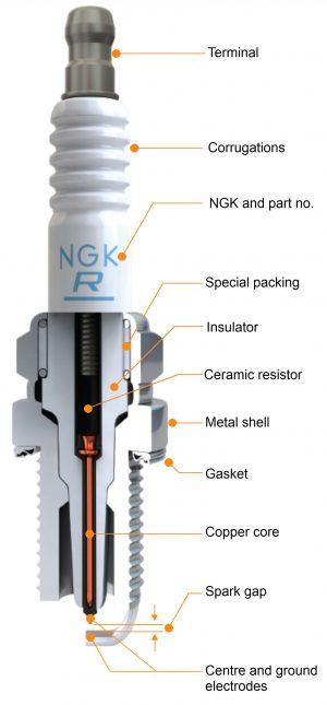 NGK Spark Plug cutaway