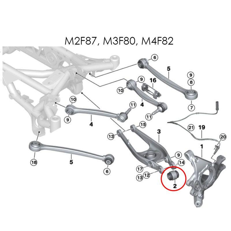 Millway Motorsport Uniball Rear Control Arm Outer Bushings (E9X M3, E82 1M, F87 M2/M2C, F8X M3/M4, E8X/E9X 1/3 Series, F1X/F2X/F3X 1/2/3 Series, i8)